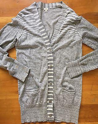 J. CREW cotton Cardigan SWEATER M women's Gray Stripes - Lightweight