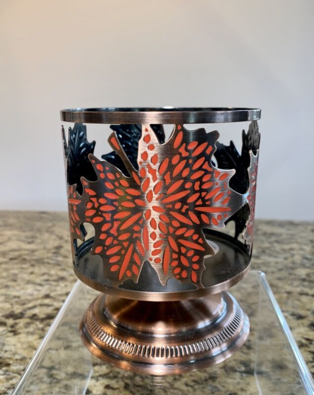 Bath & Body Works Copper Pedestal Three Wick Candle Holder Sleeve Fall Leaves