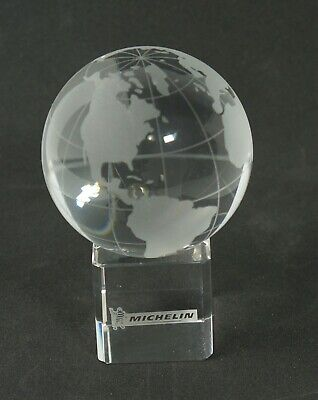 Xia Shi Liu Li  Crystal Globe on Cube Base w/Gift Box - Engraved Michelin logo Logo Cube Crystal