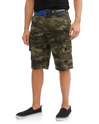 Cotton Ripstop Shorts - Mens Lazer Belted Cargo Shorts Green Camo Ripstop Stacked 100% Cotton Size 32-40