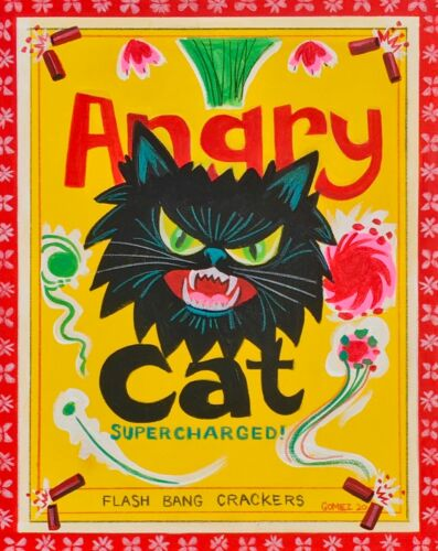 EL GATO GOMEZ PRINT RETRO ANGRY BLACK CAT VINTAGE POP PROTEST ART FIREWORKS