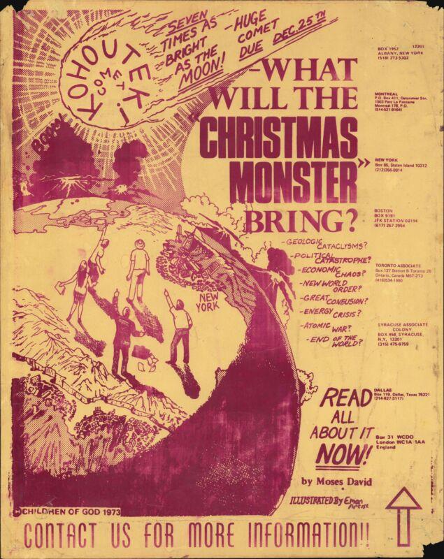 1973 Screenprinted Children of God Doomsday Comet Kohouteki Broadside