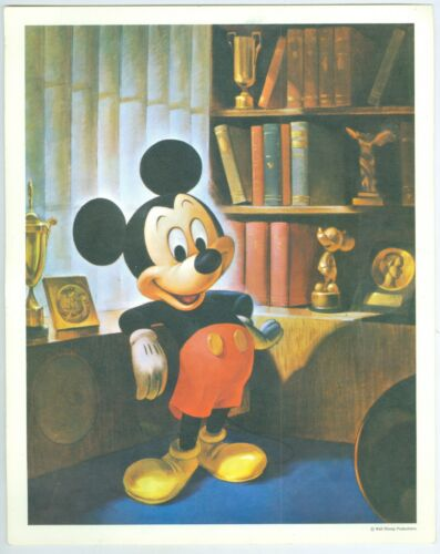 Vintage Colorful Mickey Mouse Print, Walt Disney Productions, 8x10