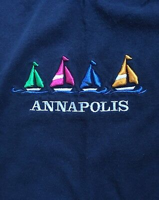 Annapolis MD Maryland Multicolored Embroidered Sailboats Blue T-Shirt Adult M
