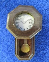 Dollhouse Miniature Brown Wood Wall Grandfather Clock 1:12 Scale Nonworking New
