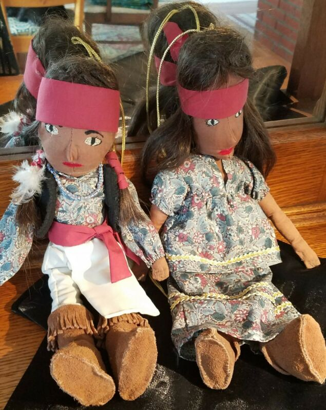 RARE Vintage Native American Hand Sewn Dolls By PRINCESS MORNINGSTAR LEW WOLF