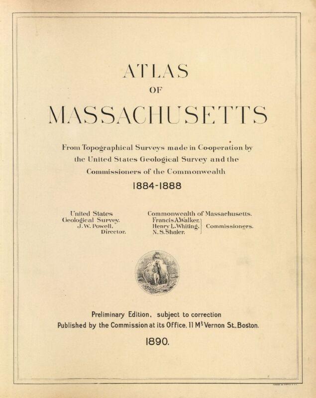 1890 MASSACHUSETTS STATE ATLAS maps old GENEALOGY DVD S21