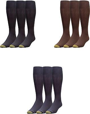 Gold Toe Men's Premium Over the Calf Canterbury Dress Socks, 3 Colors, 3 Pairs