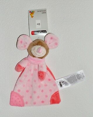 Ergee KIK ROSA BRAUNE MAUS Mäuschen Schmusetuch Schnuffeltuch mit Beißecke Neu *