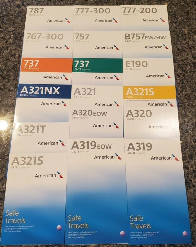 American Airlines LOT of 18 Safety Cards Airbus Boeing Embraer