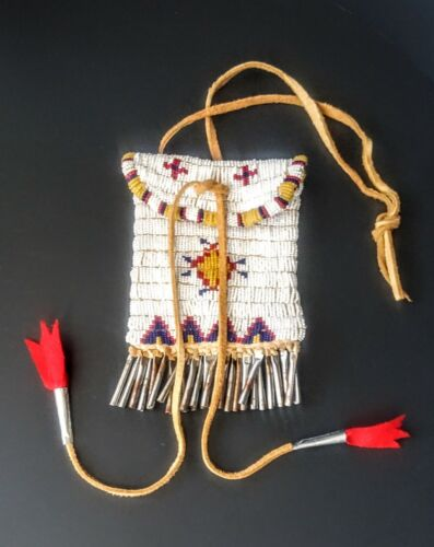 Vintage Lakota Medicine Pouch hand beaded with tin cones