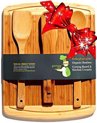 Bamboo Cutting Board Housewarming Gift Set - With Bonus 3-Pi