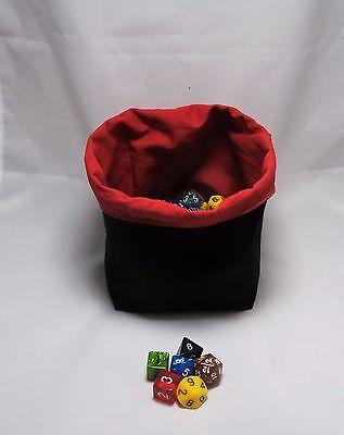 D&D Black Red - Square Dice Bag - Reversible Drawstring Tile Pouch - RPG Meeple