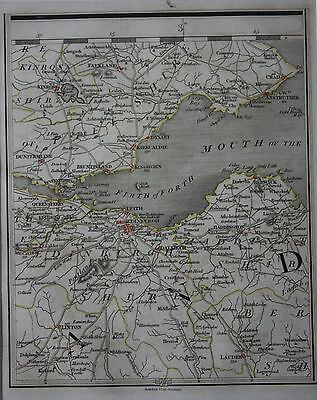 Original antique map SCOTLAND, EDINBURGH, KIRCALDIE, DUNFERMLINE, Cary, 1794