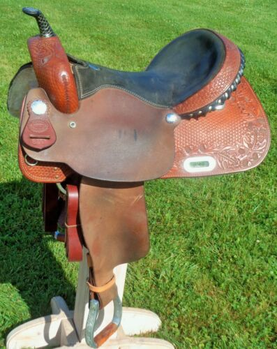 """BILLY COOK 17"""" Barrel Racing SADDLE~Beautiful TOOLING~GREAT Cond~Roughout Fender"""