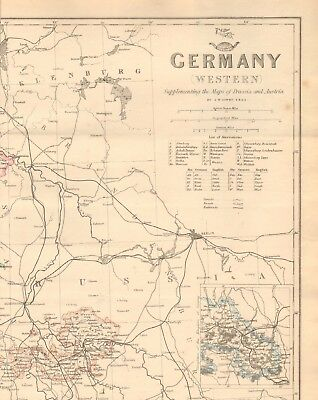 1863  LARGE ANTIQUE MAP - DISPATCH ATLAS- GERMANY, WESTERN