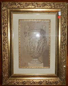 1852 antico vaso greco scena nudi anfora litografia con for Vaso greco antico