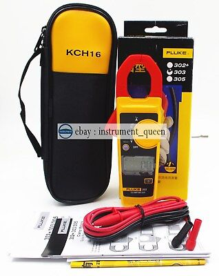 Fluke 303 Clamp Multimeter Kch16 Soft Case Acdc Handheld 600a 4000 Backlight
