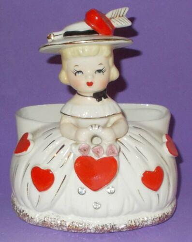 "Vintage Valentine Shopper Girl Planter Applied Roses & Red Hearts 5.5"""