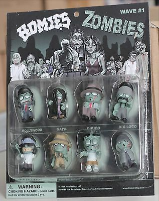 """Packaged - one Complete set of all 8 Big Head HOMIES ZOMBIES figures - 1 3/4"""""""