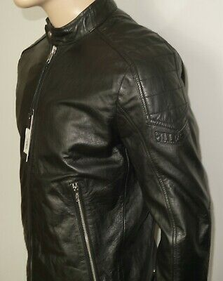 $598 NEW Diesel L-MONIKE Leather Jacket BLACK XXL RUNS SMALL FITS L 100%Cowhide