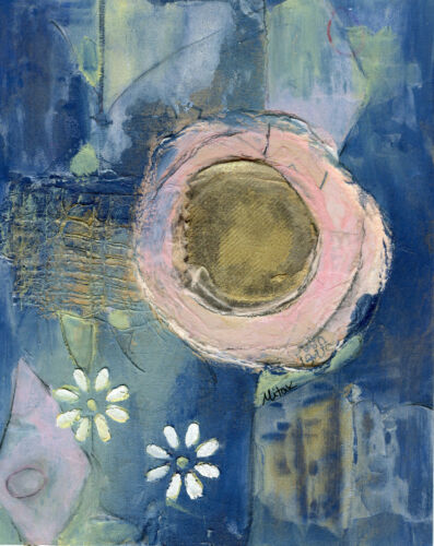 8x10 SIGNED ORIGINAL MIXED MEDIA COLLAGE BLUE TURQUOISE MOON FLORAL BY MITAK