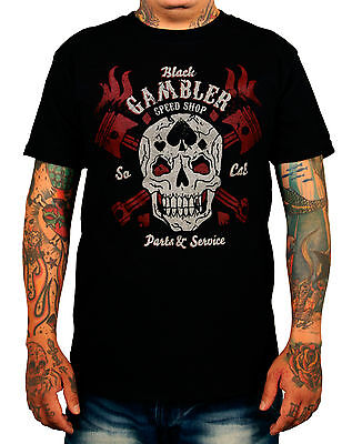 LA MARCA DEL DIABLO [BLACK GAMBLER] T-SHIRT ROCKABILLY SUGAR SKULL BIKER ROCKER