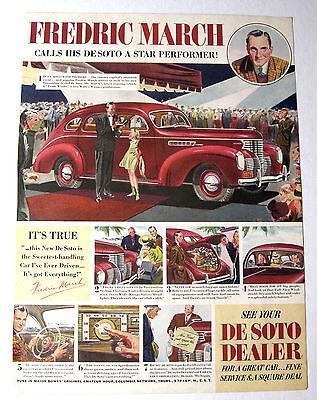 Classic Magazine Ad Fredric March Original 1938 De Soto Automobile Print Promo