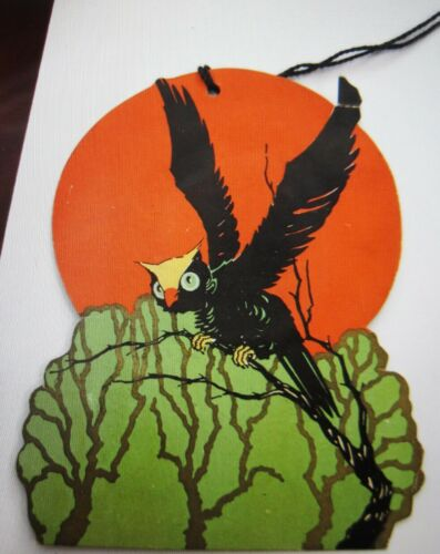 "Vintage ""Halloween"" Bridge Tally w/ A Flying Black Owl Landing On Green Tree *"