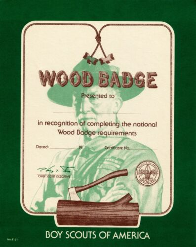 National BSA Woodbadge Course Certificate  1976-1990