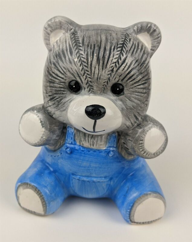 """Vintage Ceramic Gray Bear in Blue Overalls Coin Piggy Bank 6"""" X 4.5"""" X 4"""""""
