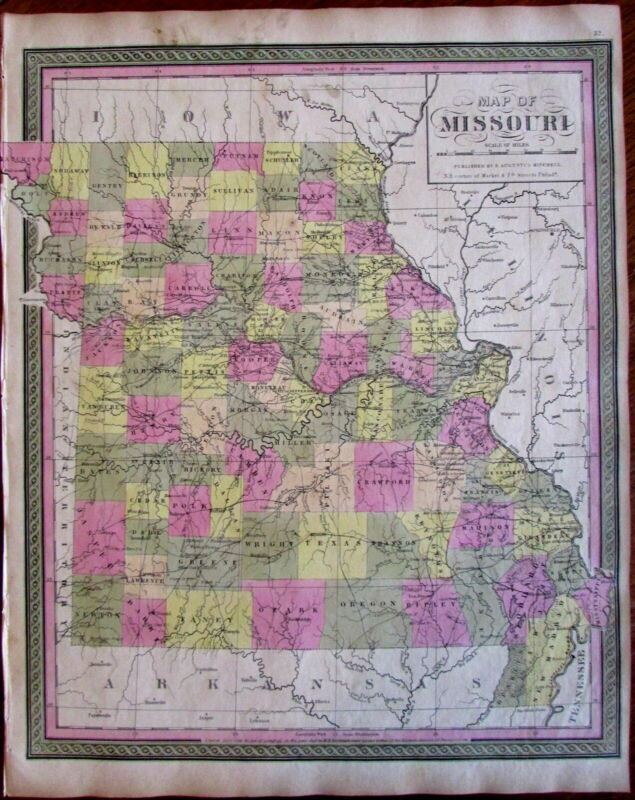 Missouri state by itself 1848-9 Mitchell Burroughs scarce map hand color
