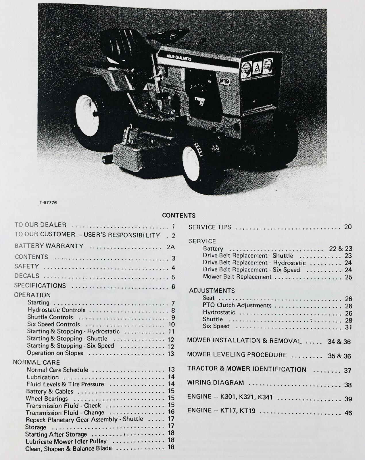 Allis Chalmers 912h 914 916h 917h Lawn Garden Tractor Service Operators Manual