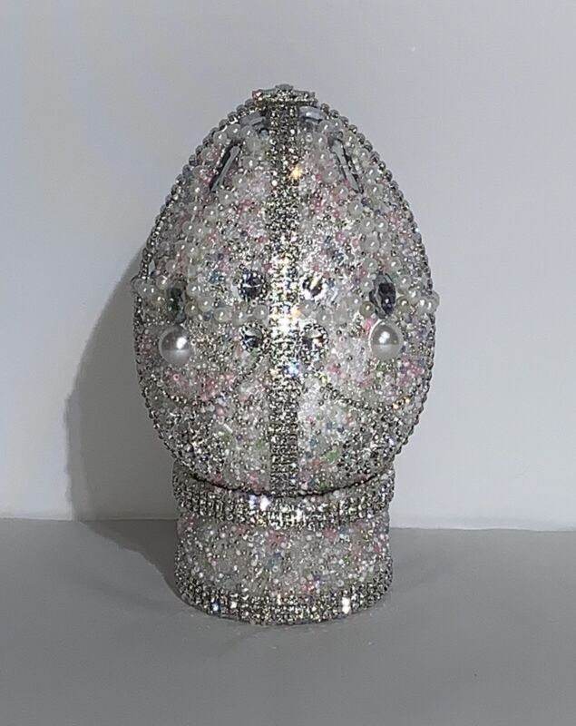 Large Size Jewelry / Jeweled Spring Easter Egg & Matching Display Stand