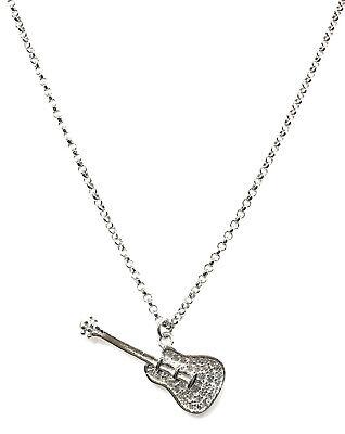 collana pendente da donna argento 925 con zirconi rodiata 45 cm chitarra musica
