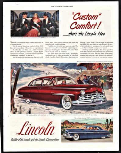 1949 LINCOLN Cosmopolitan Sedan Dark Red Maroon Car AD Ski Lodge Skiing Skiers