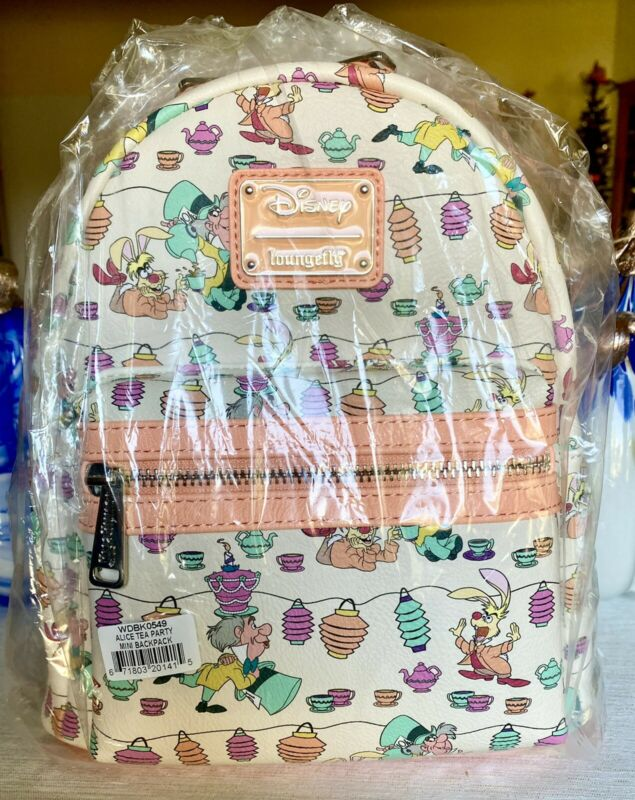 NWT Loungefly Mini Backpack Alice Mad Hatter Tea Party Teacups UnBirthday