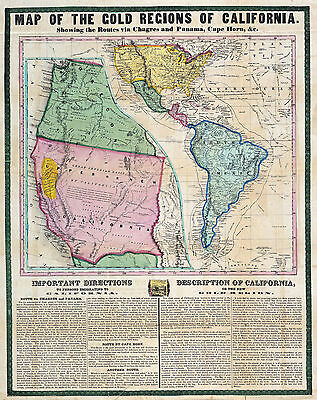 1849 Mining Map California Gold Rush Regions Wall Poster Vintage History Print