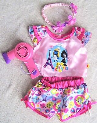 Build-a-Bear Best Friend Outfit: Top, Shorts, Headband & Hair Dryer New - Best Cat Outfits