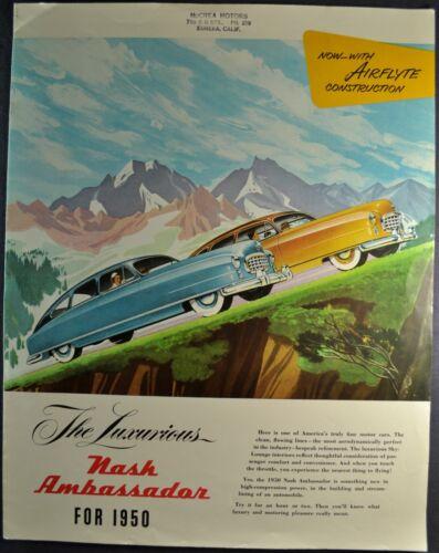1950 Nash Ambassador Large Brochure Airflyte Sedan Club Coupe Excellent Original
