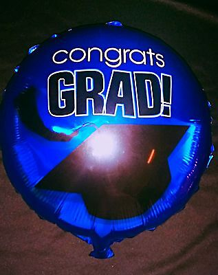 Blue congrats grad exams degree well done party foil 18