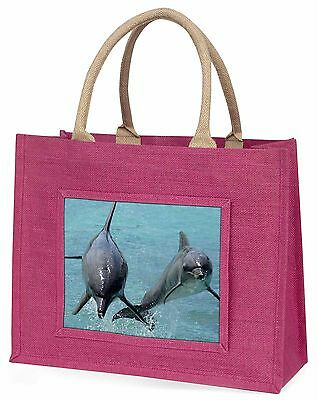 Jumping Dolphins Large Pink Shopping Bag Christmas Present Idea, AF-D6BLP