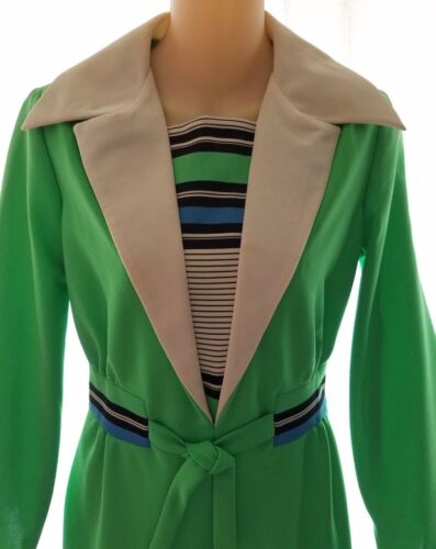 Vintage Green White Blue Jumpsuit Pantsuit Polyester Palazzo CM Courtney ~ Small
