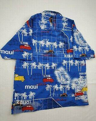 1940s Men's Shirts, Sweaters, Vests Koman Sports Hawaiian Shirt Mens Size L Button Up Blue Islands Cities 1940's  $45.00 AT vintagedancer.com