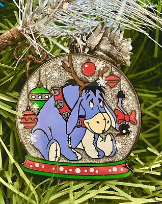 "Disney Eeyore ,2"" Fantasy Pin. Christmas Snow globe Set LE 50 Winnie The Pooh"