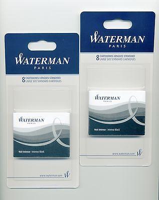 Waterman Fountain Pen Cartridge Intense Black 2 Packs of 8 Cartridges (52021)