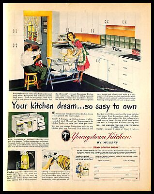 1948 Mullins Youngstown Kitchens Vintage PRINT AD Housewife Family Cabinet Sink