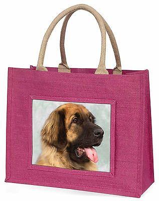 Blonde Leonberger Dog Large Pink Shopping Bag Christmas Present Idea, AD-LE1BLP