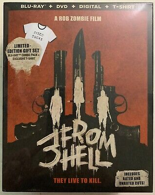NEW 3 FROM HELL BLU RAY DVD DIGITAL 2 DISC SET WALMART EXCLUSIVE + T-SHIRT RARE