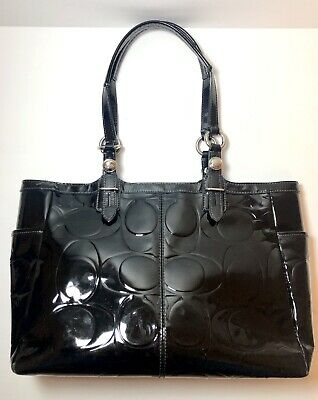 Coach Black Patent Leather Handbag Shoulder Tote Womens Purse